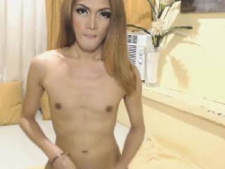 Hot Shemale Masturbating Her Cock