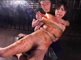 stacked japanese bondage fetishist gets her body covered in