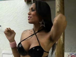 Big tits shemale asshole pounded by horny man outdoors
