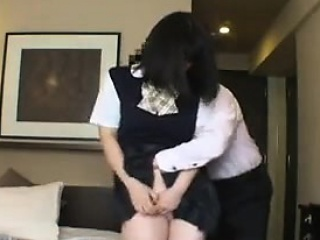 cute oriental schoolgirl gives her tight hairy beaver to a