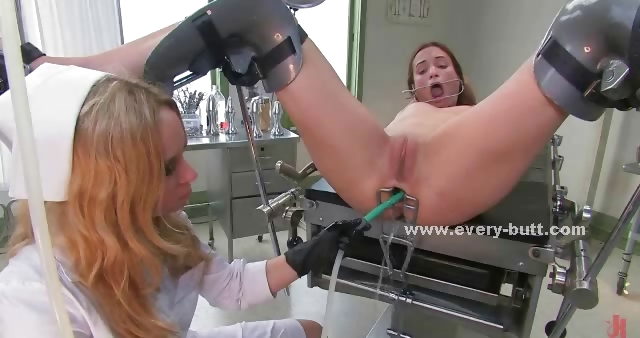 Porn Tube of Hospital Patient Tied And Used By Pervert Doctor With Large Breasts In Anal Toy And Device Play