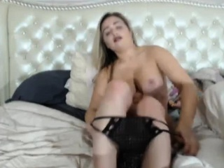 busty blonde shows down on camera