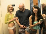 skinny blondie nailed by bald dude with slim brunette