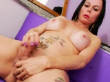 big boobs mature shemale masturbates cock till she cums