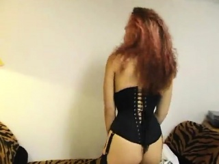 underwear-dressed redhead having a warm body having fun wit