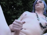 amateur goth femboy outdoors pulling dick