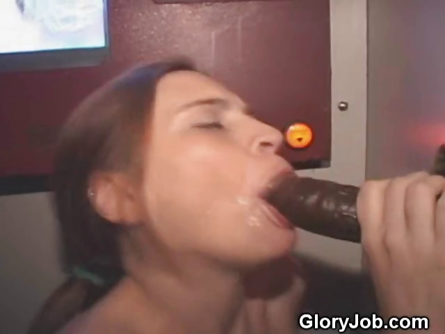 Porn Tube of White Brunette Sucking Black Cock At Glory Hole