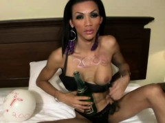 Skinny black hair TS fucks tight anal with champagne bottle