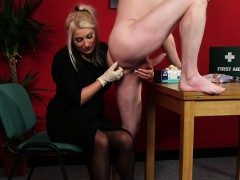 Dominating milf sucking and jerking in cfnm