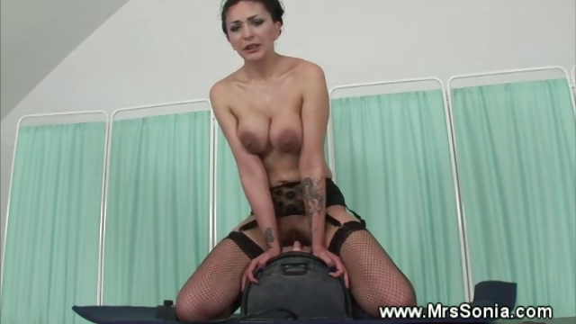 Porno Video of Brunette Rides Fucking Machine