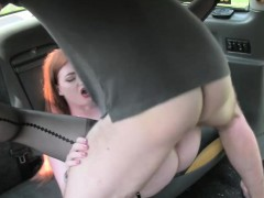 Sexy redhead slut pussy and ass nailed by nasty driver