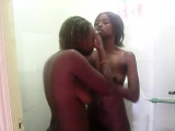 2 horny african hotties fuck each ohter in shower