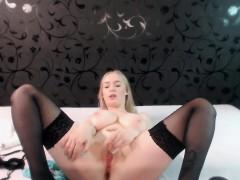 Sexy Blonde Babe With Big Boobs Strips Bra