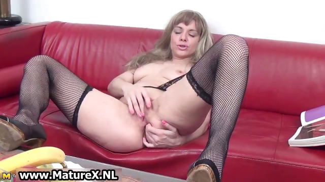 Porn Tube of Horny Mature In Black Stockings Loves Part1