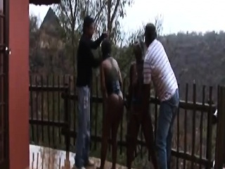Outdoor nipple torment bdsm with african whores...