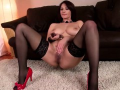 Vanessa wears lingerie while masturbating passionately
