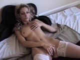 amber desire masturbates in white stockings