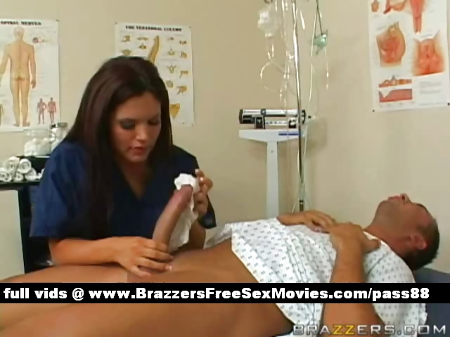 Porn Tube of Hot Brunette Nurse Makes A Patient A Bath