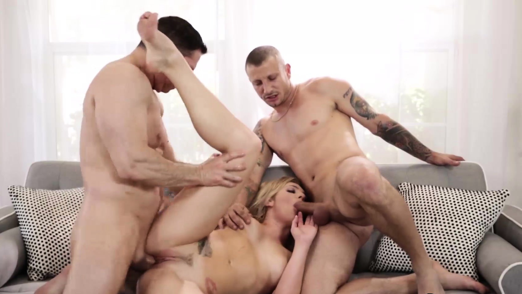 Blonde Girl Dahlia Heaven Gets Hammered In Hard Threesome