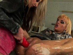 Hardcore toy play with lewd lesbo babes in white satin