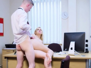 busty blonde lady boss gets her hungry pussy drilled