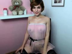 Sexy lingerie clad blond Katie Kay strips to masturbate