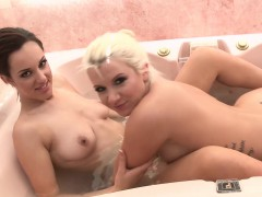 TEENGONZO Brunette and blonde lesbians pussy playing