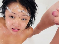 Asians face bukkake soak
