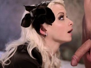 blonde beauty black rose blowjob