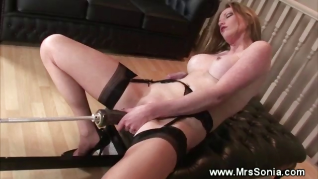 Porn Tube of Older Babe Rammed By A Big Black Dildo