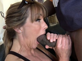 milf likes when a big, one-eyed, dark-eyed monster pierces her