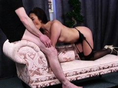 Spicy centerfold gets cumshot on her face swallowing all the