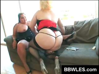 Two BBW lesbians with huge hooters lick and use toys on pussy