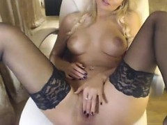 Stereotype Hot blonde in stockings smashes her tight clit