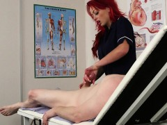 Redhead CFNM nurse wanking patients cock