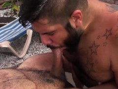 Chubby bear fucked before cumming in trio