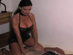 Nasty female-dom ties up slave