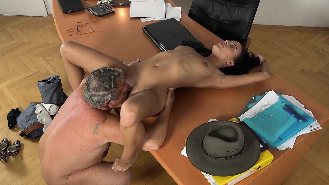 Grandpa Caught Having Sex With Young Brunette At Work