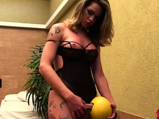 perfect blonde transexual shemale masturbates alone