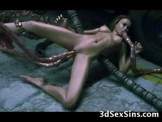 Porno Video of 3d Monsters Gangbang Hot Babes!