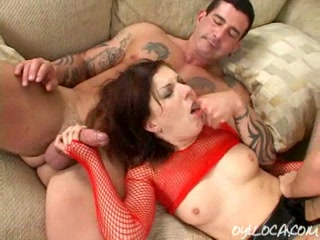 hot chick gets her pussy fucked hard while she strokes another cock