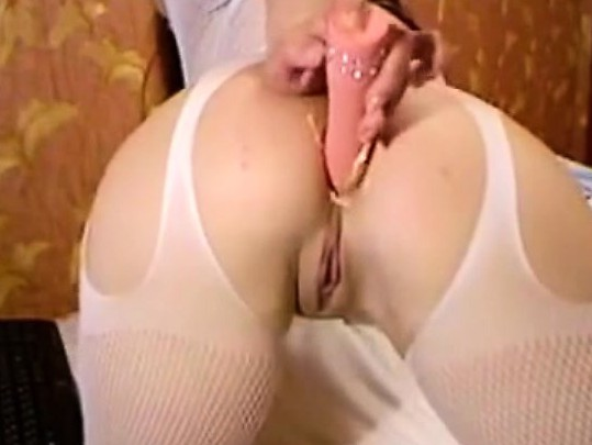 Brunette Teen In White Stockings Anal Playing