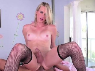 blonde tgirl nikki vicious rides cock in cowgirl