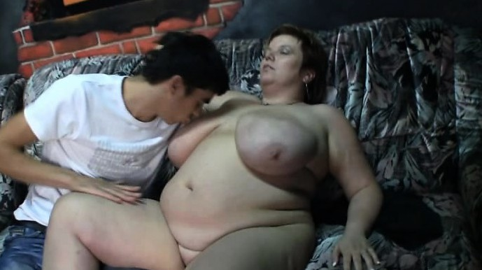 Big Tits Lady Rides Her Horny Young Cock