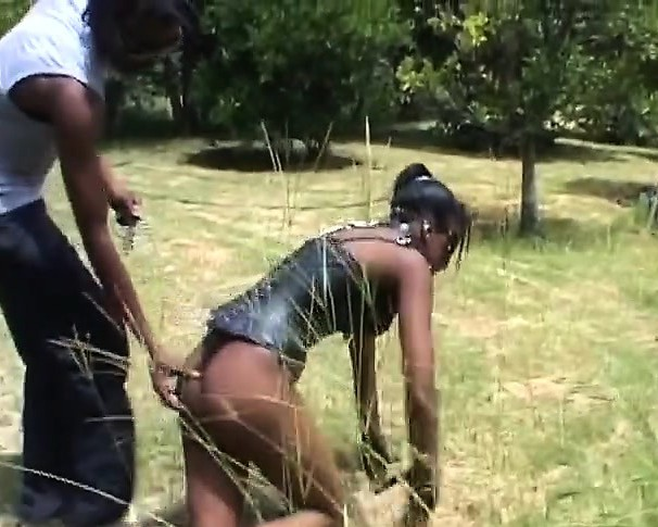 Nasty African Bitch Tormented And Throat Fucked While