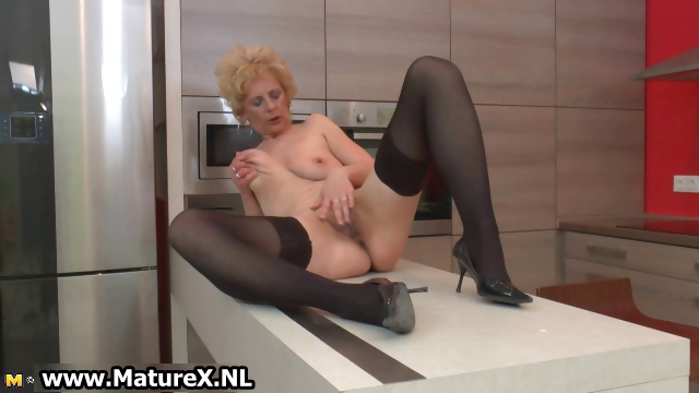 Porno Video of Horny Older Lady In Sexy Black Stockings Part6