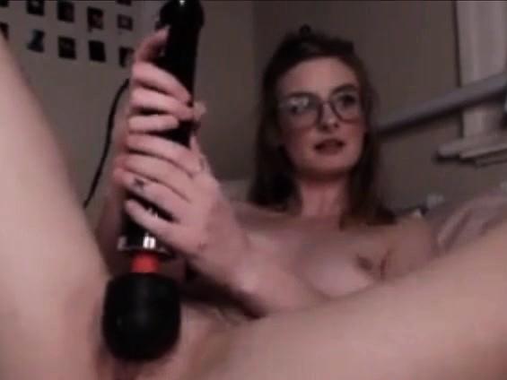 Cute Teen Nerd Masturbates Her Hairy Pussy
