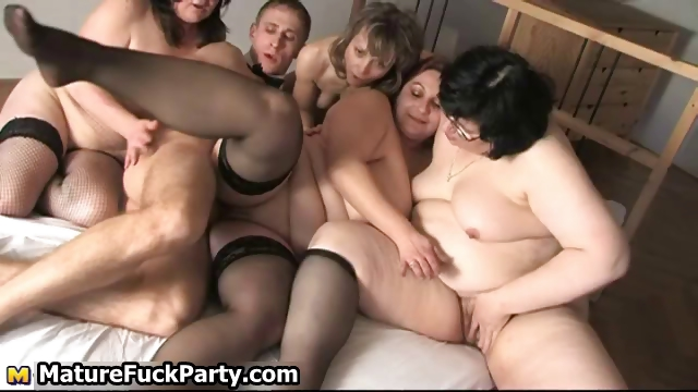 Porn Tube of Four Horny Mature Wifes Love Sucking Part4