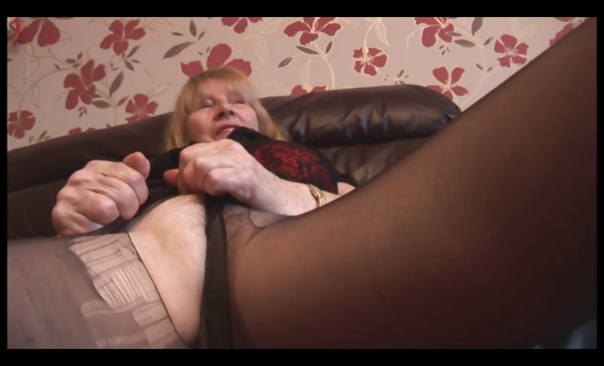Porn Tube of Hairy Granny In Pantyhose Striptease