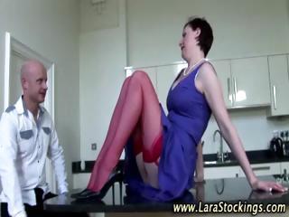 Watch mature amateur bitch puts on stockings